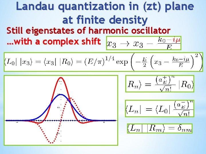 Landau quantization in (zt) plane at finite density Still eigenstates of harmonic oscillator …with