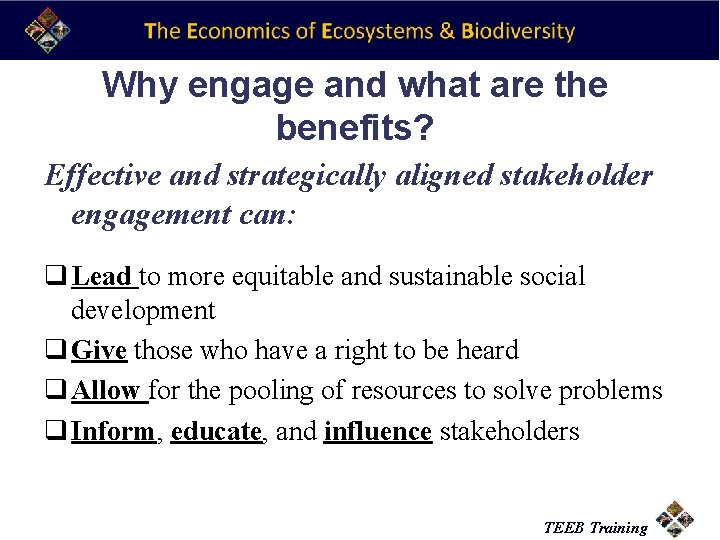 Why engage and what are the benefits? Effective and strategically aligned stakeholder engagement can: