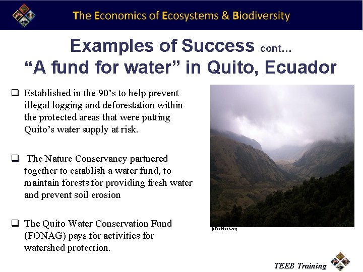 """Examples of Success cont… """"A fund for water"""" in Quito, Ecuador q Established in"""
