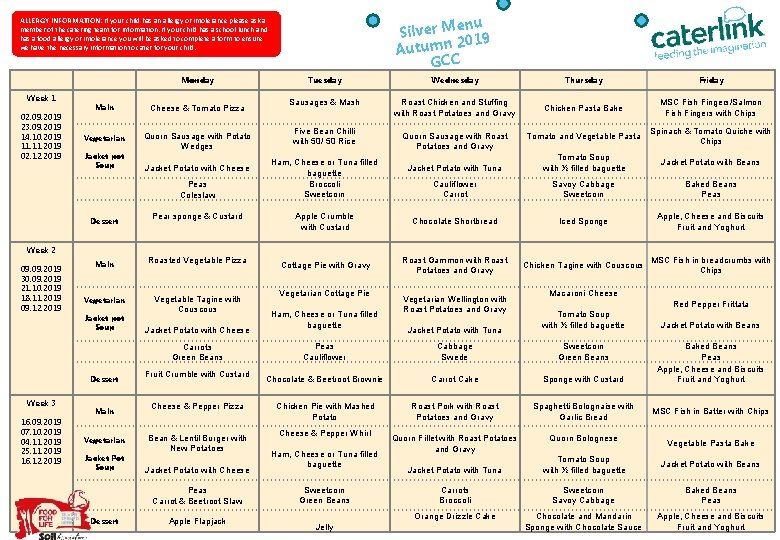 enu Silver M 2019 Autumn GCC ALLERGY INFORMATION: If your child has an allergy