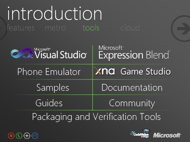 introduction features metro tools cloud Phone Emulator Samples Documentation Guides Community Packaging and Verification