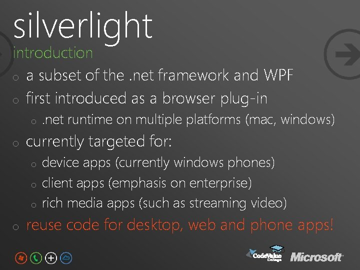 silverlight introduction o a subset of the. net framework and WPF o first introduced