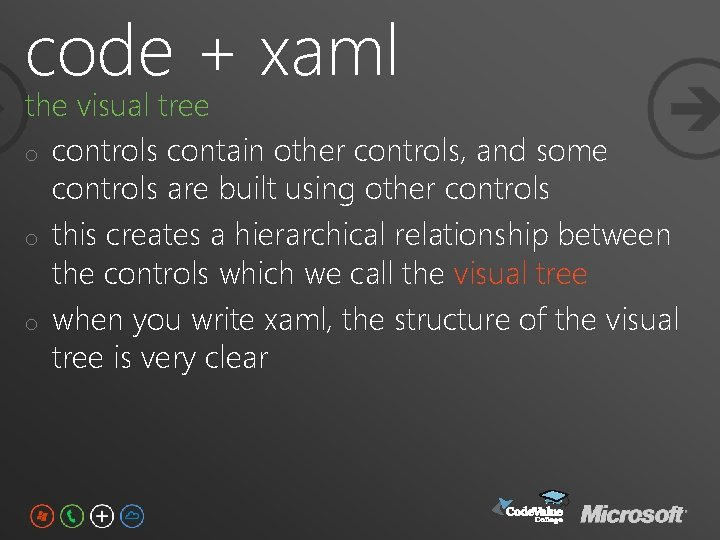code + xaml the visual tree o controls contain other controls, and some controls