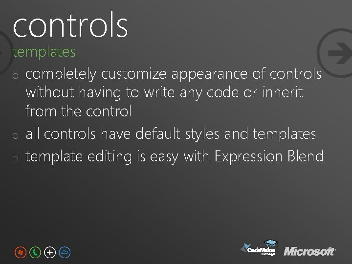 controls templates o completely customize appearance of controls without having to write any code