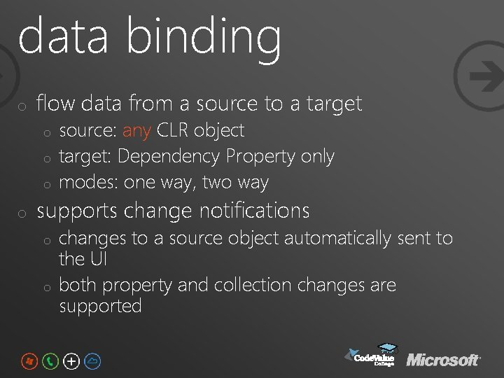 data binding o flow data from a source to a target o o source:
