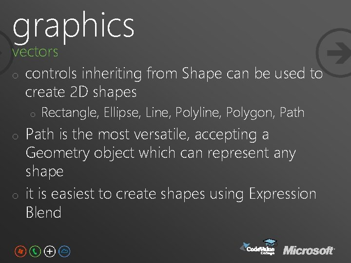 graphics vectors o controls inheriting from Shape can be used to create 2 D