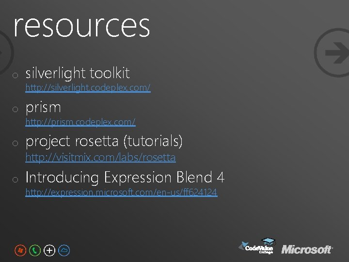 resources o silverlight toolkit o prism o project rosetta (tutorials) o Introducing Expression Blend