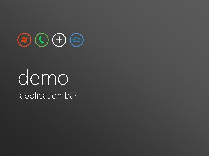 demo application bar