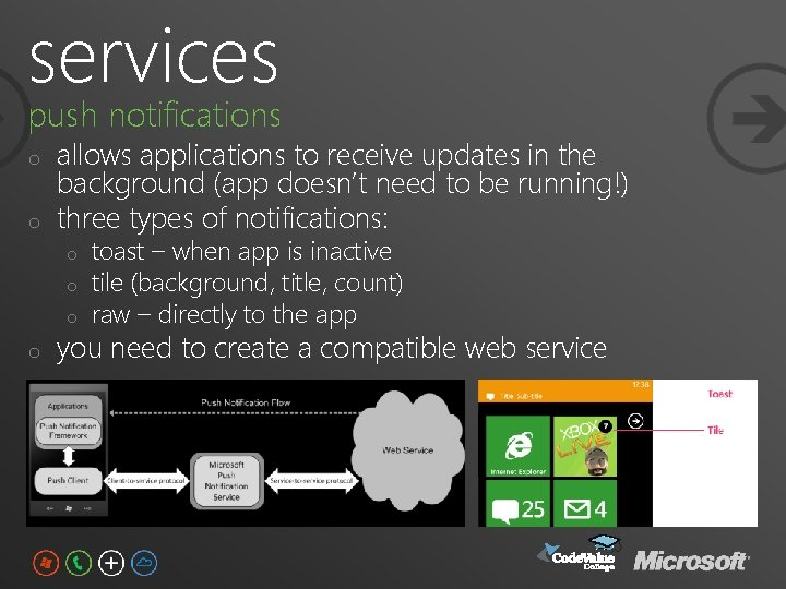 services push notifications o o allows applications to receive updates in the background (app