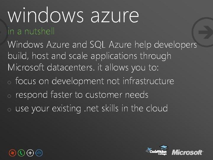 windows azure in a nutshell Windows Azure and SQL Azure help developers build, host