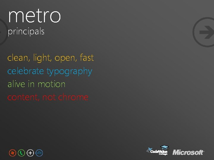 metro principals clean, light, open, fast celebrate typography alive in motion content, not chrome