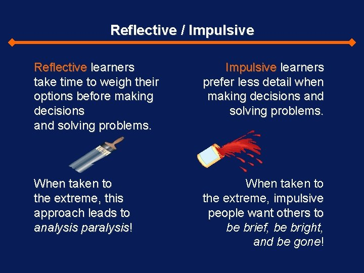 Reflective / Impulsive Reflective learners take time to weigh their options before making decisions