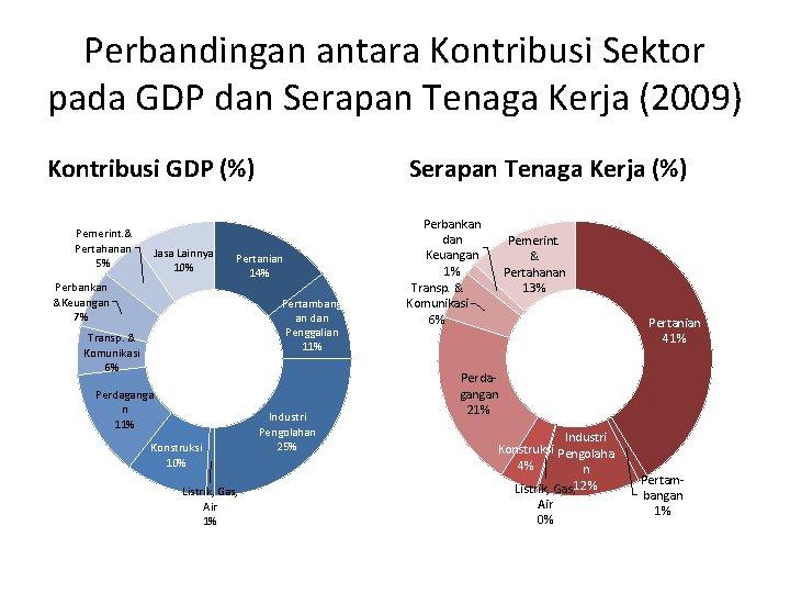 Perbandingan antara Kontribusi Sektor pada GDP dan Serapan Tenaga Kerja (2009) Kontribusi GDP (%)
