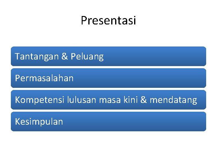 Presentasi Tantangan & Peluang Permasalahan Kompetensi lulusan masa kini & mendatang Kesimpulan