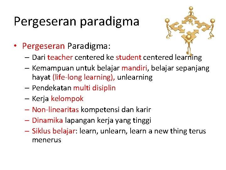 Pergeseran paradigma • Pergeseran Paradigma: – Dari teacher centered ke student centered learning –