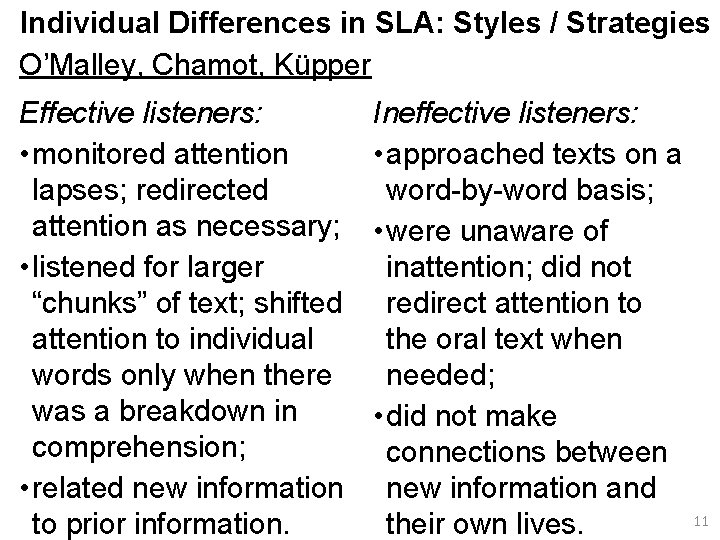 Individual Differences in SLA: Styles / Strategies O'Malley, Chamot, Küpper Effective listeners: • monitored