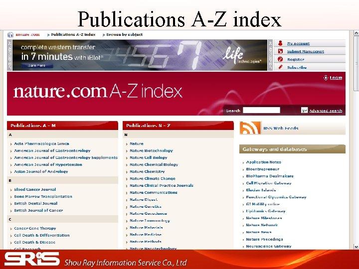 Publications A-Z index