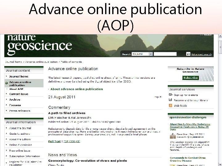 Advance online publication (AOP)