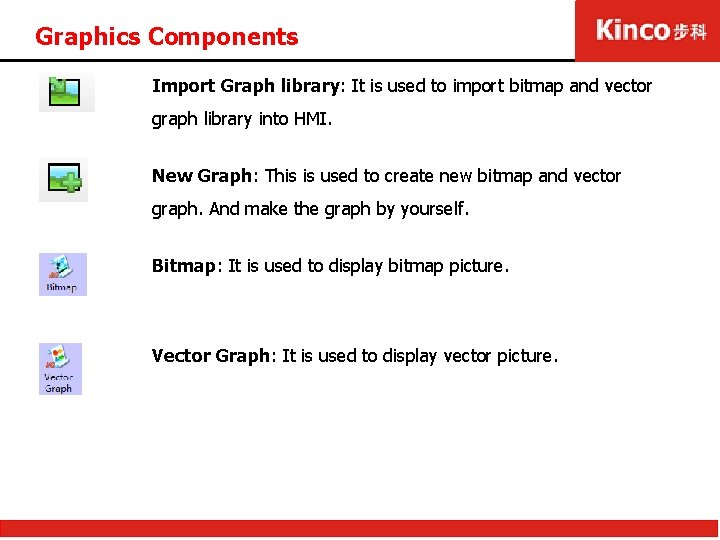 Graphics Components Import Graph library: It is used to import bitmap and vector graph