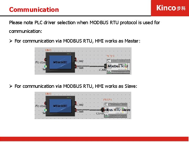 Communication Please note PLC driver selection when MODBUS RTU protocol is used for communication: