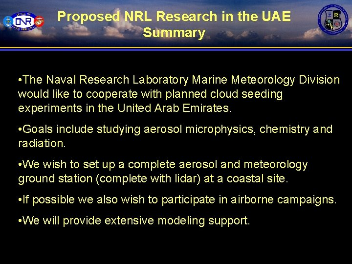 Proposed NRL Research in the UAE Summary • The Naval Research Laboratory Marine Meteorology