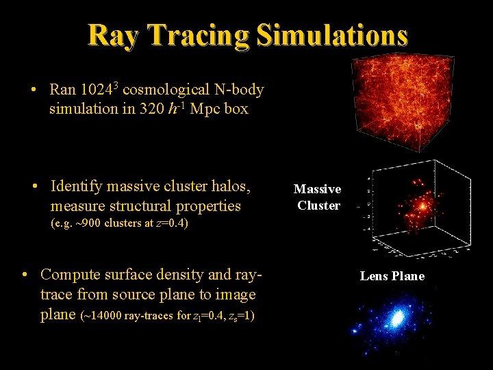 Ray Tracing Simulations • Ran 10243 cosmological N-body simulation in 320 h-1 Mpc box