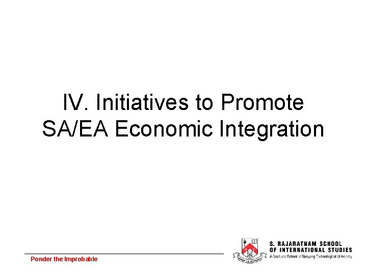 IV. Initiatives to Promote SA/EA Economic Integration Ponder the Improbable