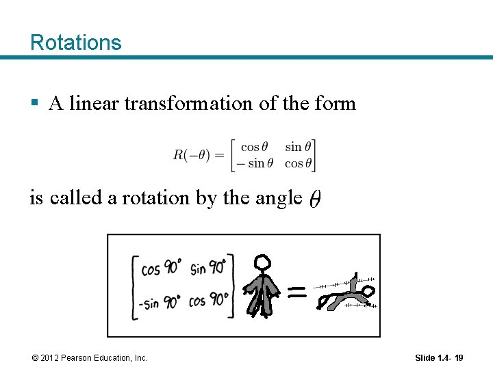 Rotations § A linear transformation of the form is called a rotation by the