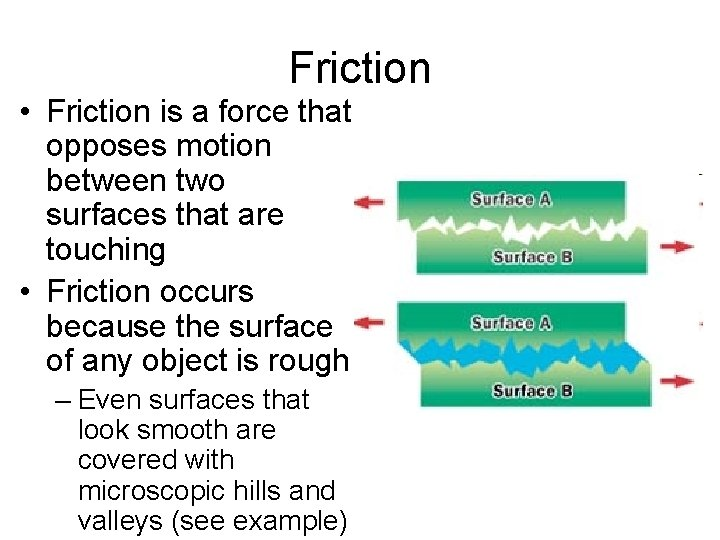 Friction • Friction is a force that opposes motion between two surfaces that are