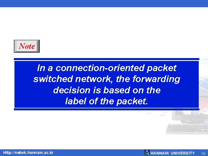 Note In a connection-oriented packet switched network, the forwarding decision is based on the