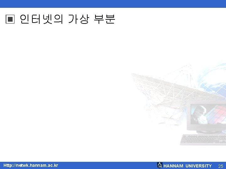 ▣ 인터넷의 가상 부분 Http: //netwk. hannam. ac. kr HANNAM UNIVERSITY 25