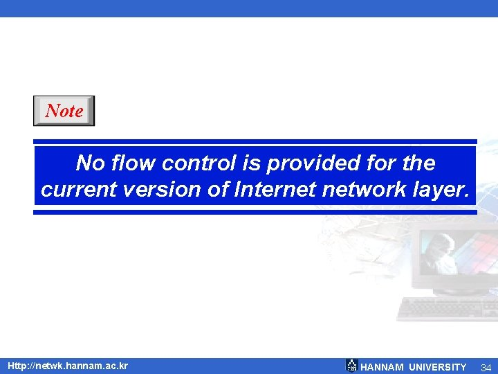 Note No flow control is provided for the current version of Internet network layer.
