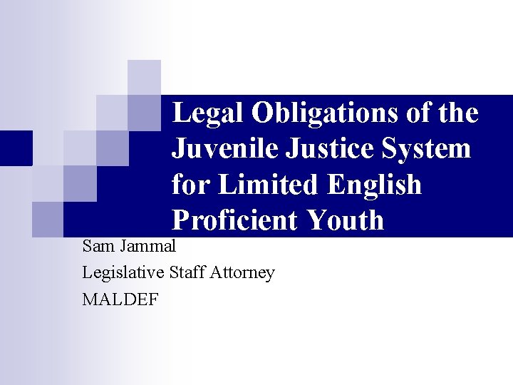 Legal Obligations of the Juvenile Justice System for Limited English Proficient Youth Sam Jammal