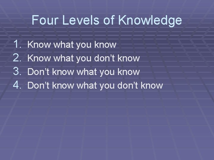 Four Levels of Knowledge 1. 2. 3. 4. Know what you know Know what