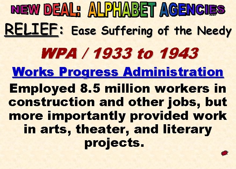 alphabet RELIEF: Ease Suffering of the Needy WPA / 1933 to 1943 Works Progress