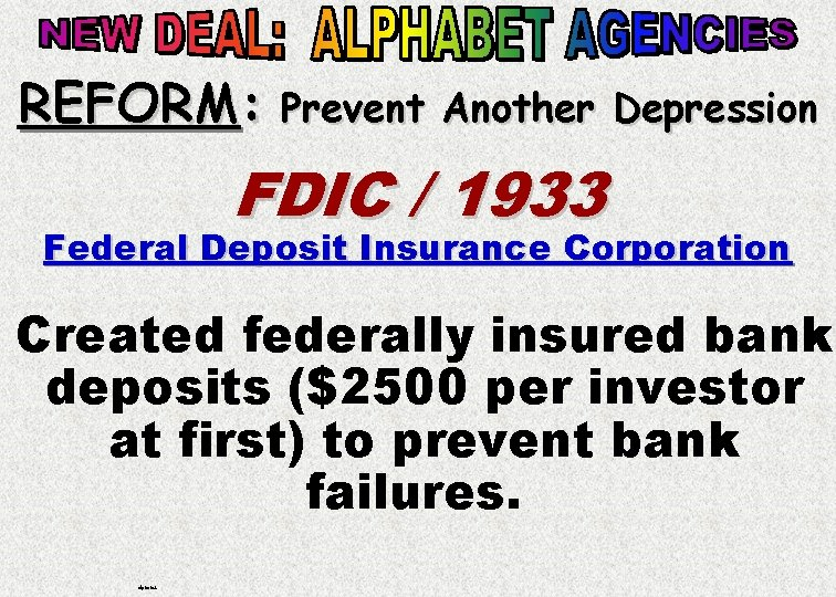 REFORM: Prevent Another Depression FDIC / 1933 Federal Deposit Insurance Corporation Created federally insured