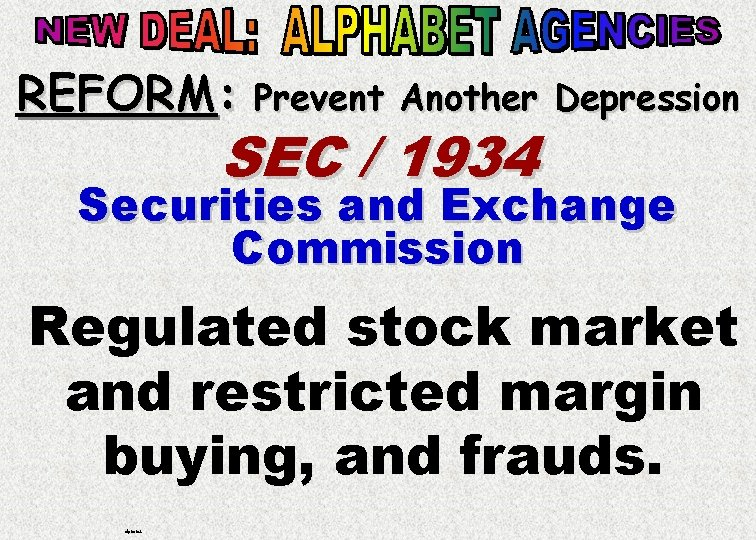 REFORM: Prevent Another Depression SEC / 1934 Securities and Exchange Commission Regulated stock market