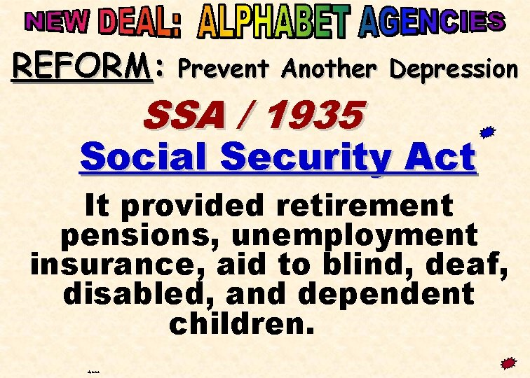 REFORM: Prevent Another Depression SSA / 1935 Social Security Act It provided retirement pensions,