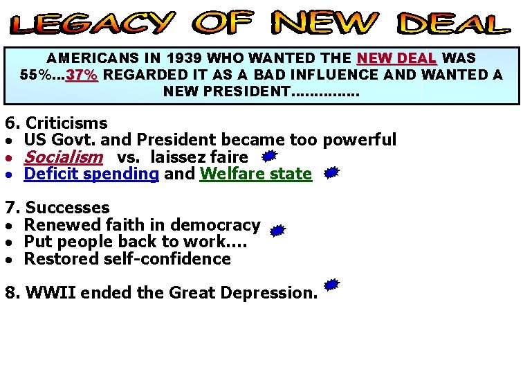 AMERICANS IN 1939 WHO WANTED THE NEW DEAL WAS 55%… 37% REGARDED IT AS