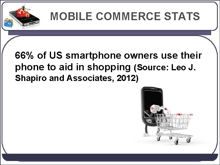 MOBILE COMMERCE STATS 66% of US smartphone owners use their phone to aid in