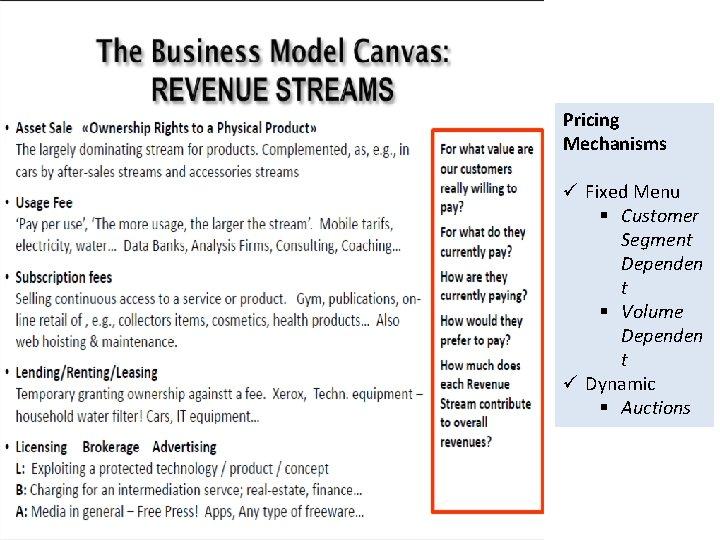 Pricing Mechanisms ü Fixed Menu § Customer Segment Dependen t § Volume Dependen t