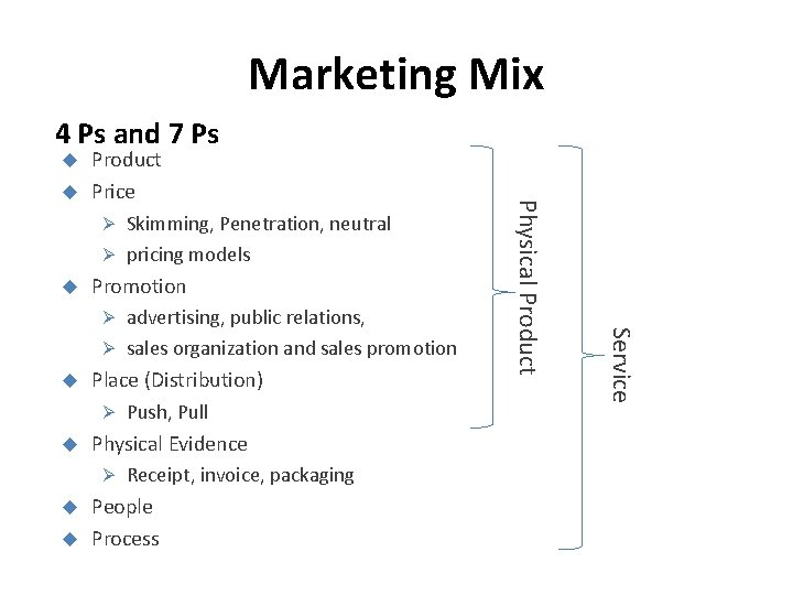 Marketing Mix 4 Ps and 7 Ps Product Price Promotion Place (Distribution) Ø Push,
