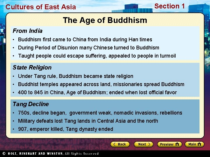 Cultures of East Asia Section 1 The Age of Buddhism From India • Buddhism