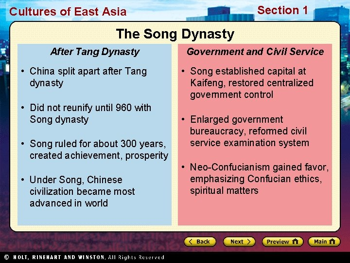 Section 1 Cultures of East Asia The Song Dynasty After Tang Dynasty • China