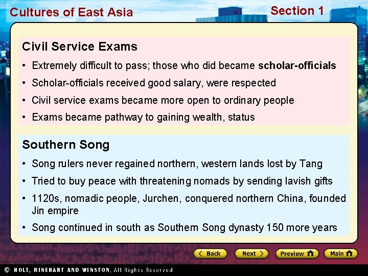 Cultures of East Asia Section 1 Civil Service Exams • Extremely difficult to pass;