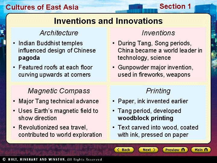 Cultures of East Asia Section 1 Inventions and Innovations Architecture Inventions • Indian Buddhist
