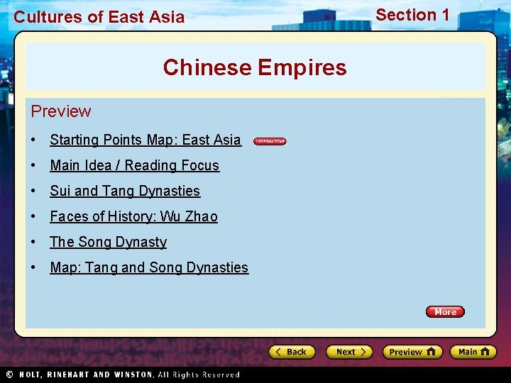 Cultures of East Asia Chinese Empires Preview • Starting Points Map: East Asia •