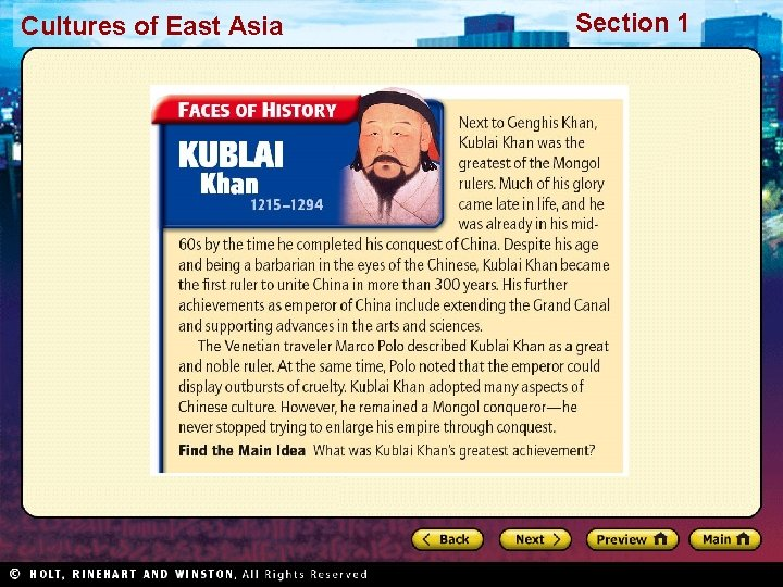 Cultures of East Asia Section 1