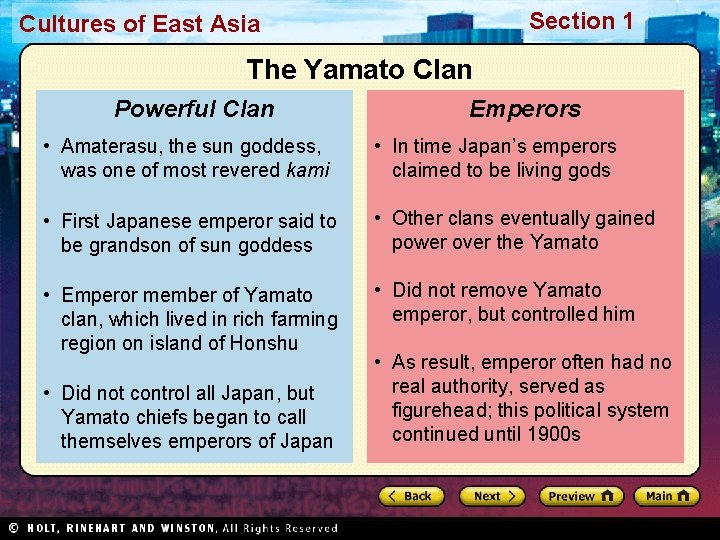 Section 1 Cultures of East Asia The Yamato Clan Powerful Clan Emperors • Amaterasu,