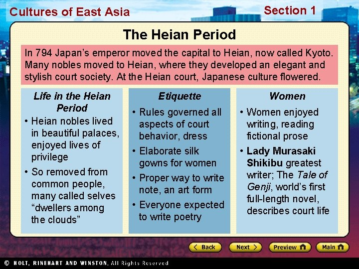 Section 1 Cultures of East Asia The Heian Period In 794 Japan's emperor moved